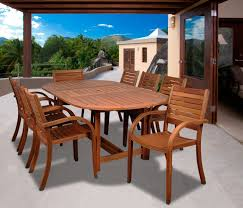 Outdoor Dining Room Amazon Com Amazonia Arizona 9 Piece Eucalyptus Oval Dining Set