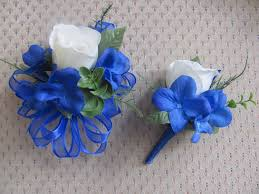 royal blue corsage corsage and boutonniere set for wedding prom or party2814 set