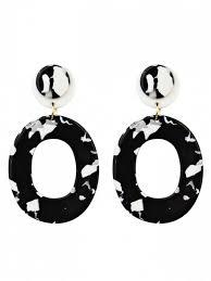 black drop earrings vintage oval shape acrylic stud drop earrings black earrings zaful