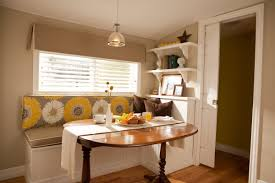 calming breakfast kitchen nook ideas with floral print light olive