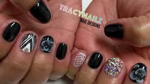 black floral design gel polish nails youtube
