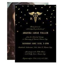 nursing graduation announcements nursing graduation invitations gold black zazzle