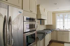 l shape kitchen decorating using brown brick tile kitchen