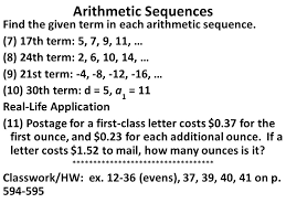 arithmetic sequences sequence u2013 a list of numbers or objects