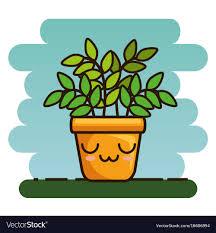 cute plant cute lovely kawaii house plants cartoons vector image