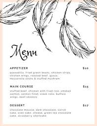 light pink feathers wedding menu templates by canva