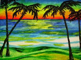 palmiers au coucher du soleil paysage plage 14 x 17 huile