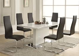 buy modern dining white dining table with chrome metal base by