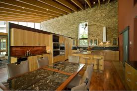 natural kitchen design natural kitchen ideas with stone wall decoration and wooden floor