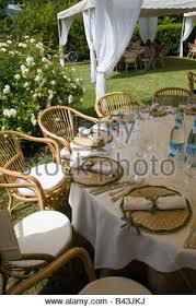 Wedding Table Set Up Outdoor Wedding Dinner Table Place Setting At Night Stock Photo