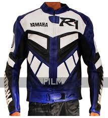 leather racing jacket r1 series blue biker leather jacket