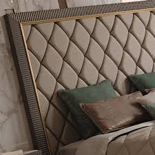 italian designer art deco inspired upholstered bed with tall