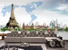 creative 3d architecture world map mural eiffel tower wallpaper see larger image