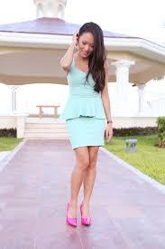 mint peplum dress u0026 candy pink pumps
