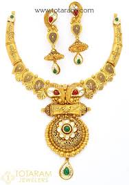 gold antique necklace set images 22k gold antique necklace drop earrings set with stones 235 jpg