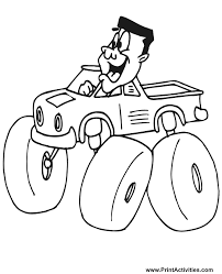 monster truck coloring page free coloring sheet happy driver