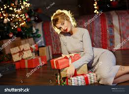 Christmas Decorations At Home Portrait Glamorous Blonde Gifts Hands Stock Photo 517271521
