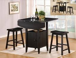 Drop Leaf Bistro Table 3 Pc Black Finish Counter Height Drop Leaf Pub Set With Saddle