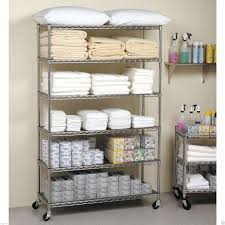 Wire Shelf Cart Commercial Metal Steel Rolling Storage Shelving Rack Chrome Wire