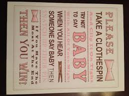 baby shower clothespin baby shower don t say baby sign pink