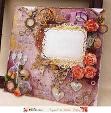 papericious mixed media frame with circular collage sheet and 3d