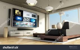 modern 4k smart tv room large stock illustration 548863270