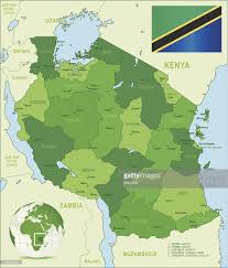 Tanzinia Flag Green Map Of Tanzania States Cities And Flag Vector Art Getty Images