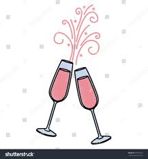 champagne glass cartoon pair champagne glass cheers drink sparkles stock vector 753553372