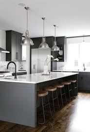 black kitchen island black white grey wood kitchen with oversized kitchen island