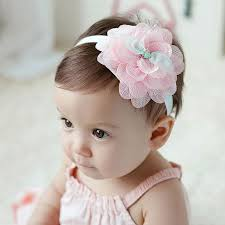 hair chiffon new cute chiffon flower lace elastic headbands girls rose hair