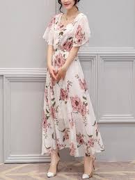 chiffon maxi dress chic neck floral printed chiffon maxi dress fashionmia