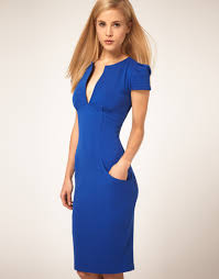 asos collection ponti pencil dress with pockets in blue lyst
