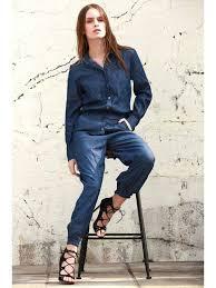 s sleeve jumpsuit denim turn collar sleeve jumpsuit blue jumpsuits