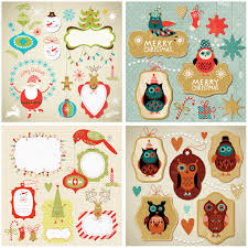 christmas cartoon label designs vector vector graphic freebies