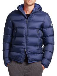 moncler chauvon hooded down jacket in blue for men lyst