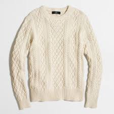 fisherman cable crewneck sweater factorymen cotton factory