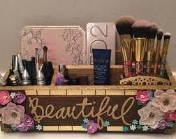 Makeup Organizer Desk Makeup Organizer Wood Etsy