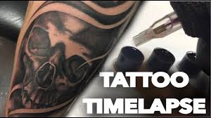 timelapse black and grey skull cover up