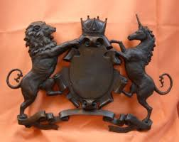 heraldic crest wall bronze sculpture ornaments coat of arms