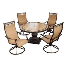 Patio Furniture Set by Shop Hanover Outdoor Furniture Monaco 5 Piece Bronze Stone Patio
