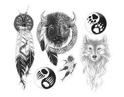 black and white indian style bull wolf and feather