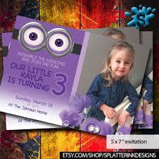 purple minions birthday invitations minions invite gilrs