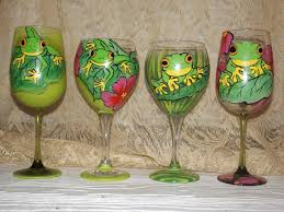 wine glass painting hand painted amazon frog 20oz wine glasses unique creations
