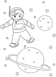astronaut coloring page boy astronaut coloring page stock illustration image 49892411