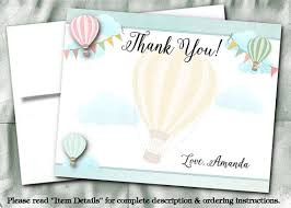 printed thank you note cards with envelope air balloons