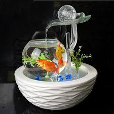 aquarium bureau céramique cercle décoration salon moderne simple placement chanceux