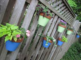Clay Pot Garden Art - fence hanging planters fence flower pots flower pot holders