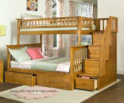 Columbia Twin Over Full Staircase Bunk Bed Caramel Latte Bedroom - Twin over full wood bunk beds