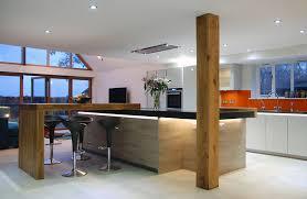 kitchen island worktop handleless grey quartz worktops and solid oak detail uckfield