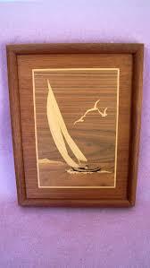 vintage mid century wood inlay wall hanging sailboat nautical